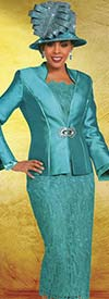 Ben Marc 48164 Womens Lace Skirt Suit With Solid Jacket