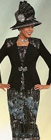 Ben Marc 48166 Lace Trimmed Skirt Suit With Floral Print Design