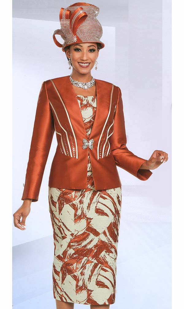 Ben Marc 48167 Embellished Womens Church Suit With Printed Pattern