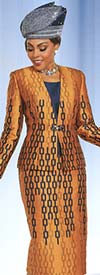 Ben Marc 48168 Womens Skirt Suit With Chainlink Print Design
