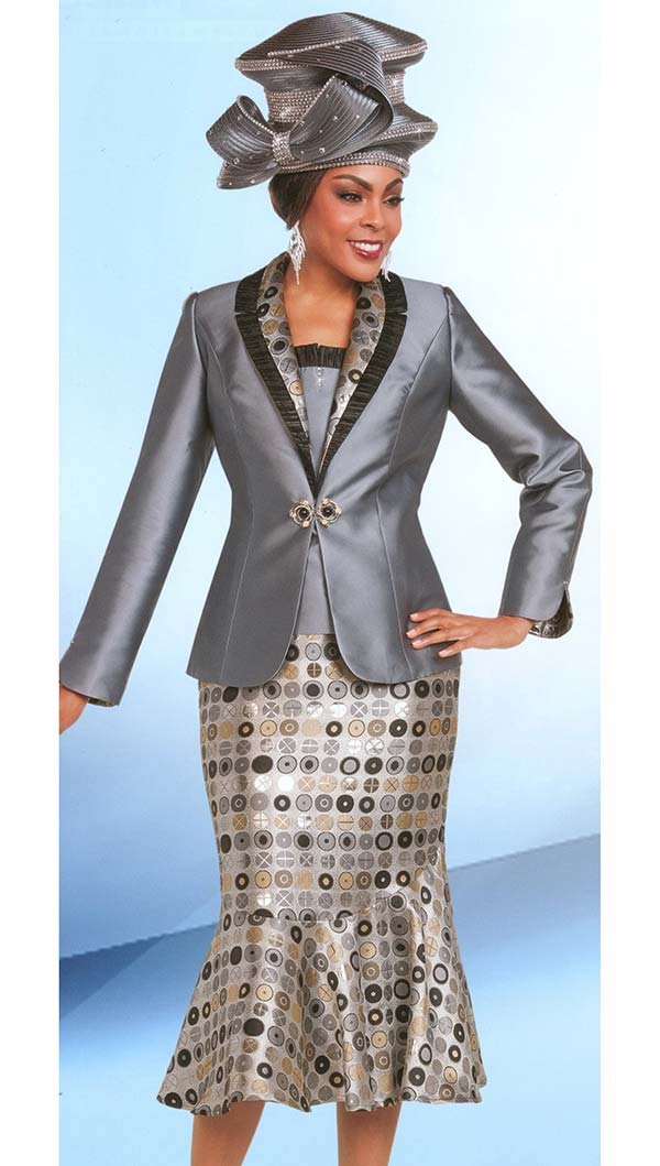 Ben Marc 48169 Flounce Skirt Suit With Print Design & Ruffle Lapel Trims