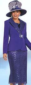 Ben Marc 48171 Womens Church Suit With Shawl Lapel & Textured Skirt