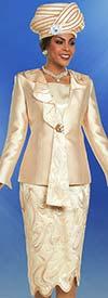 Ben Marc 48172 Womens Church Suit With Cascading Lapel & Textured Look Skirt