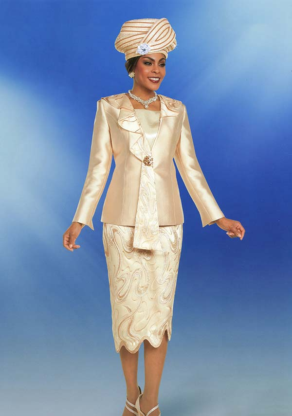Ben Marc 48172 Womens Church Suit With Cascading Lapel & Textured Look Skirt