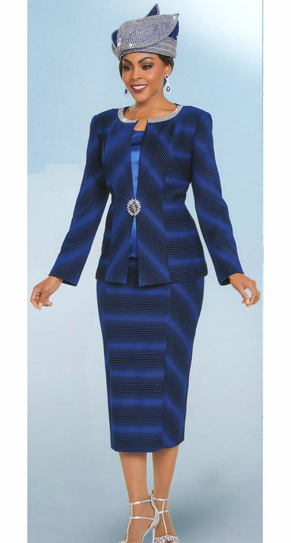 Ben Marc 48176 Striped Womens Church Suit With Embellished Neckline
