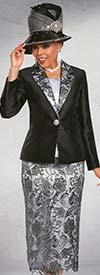 Ben Marc 48177 Womens Lace Skirt Suit With Notch Lapel Solid Jacket