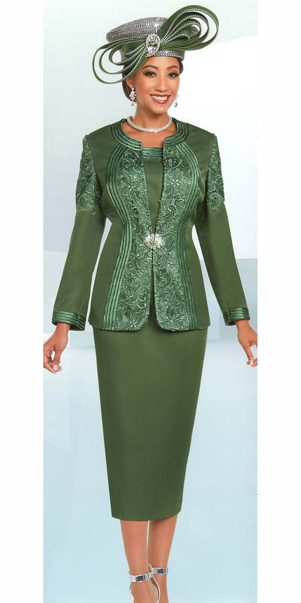 Ben Marc 48180 Womens Church Suit With Lace Pattern Inset Design