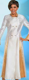 Ben Marc 48181-OffWhite - Pleated Womens Church Robe With Bell Cuffs