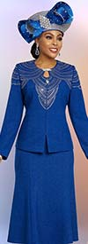 Ben Marc 48251 Two Piece Womens Knit Church Suit With Flared Skirt And Embellished Jacket