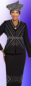 Ben Marc 48252 Two Piece Womens Knit Skirt Suit With Vee Neckline Jacket