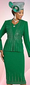 Ben Marc 48253 Two Piece Womens Knit Skirt Suit With Embellished Design