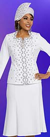 Ben Marc 48256 Two Piece Womens Knit Church Suit With Flared Skirt Design