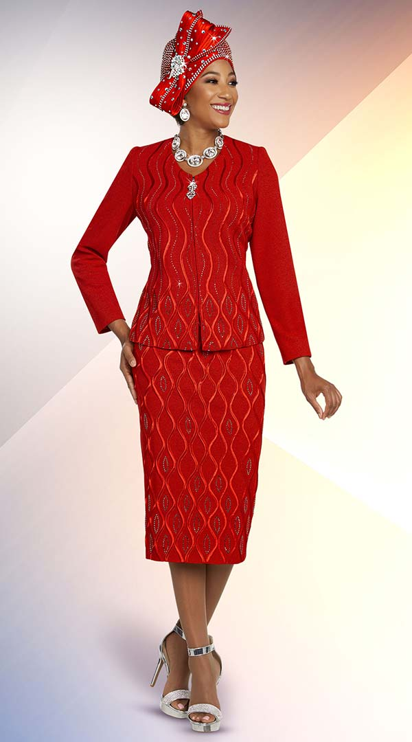 Ben Marc 48259 Womens Knit Church Suit With Skirt And Embellished Wavy Stripe Pattern Design