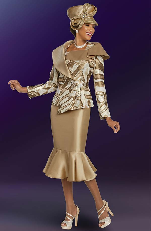 Ben Marc 48261 Womens Ruffle Flounce Skirt Suit With Asymmetric Over Shoulder Collar Jacket