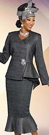 Ben Marc 48264 Brocade Glitter Fabric Flounce Skirt Suit With Half Peplum Jacket