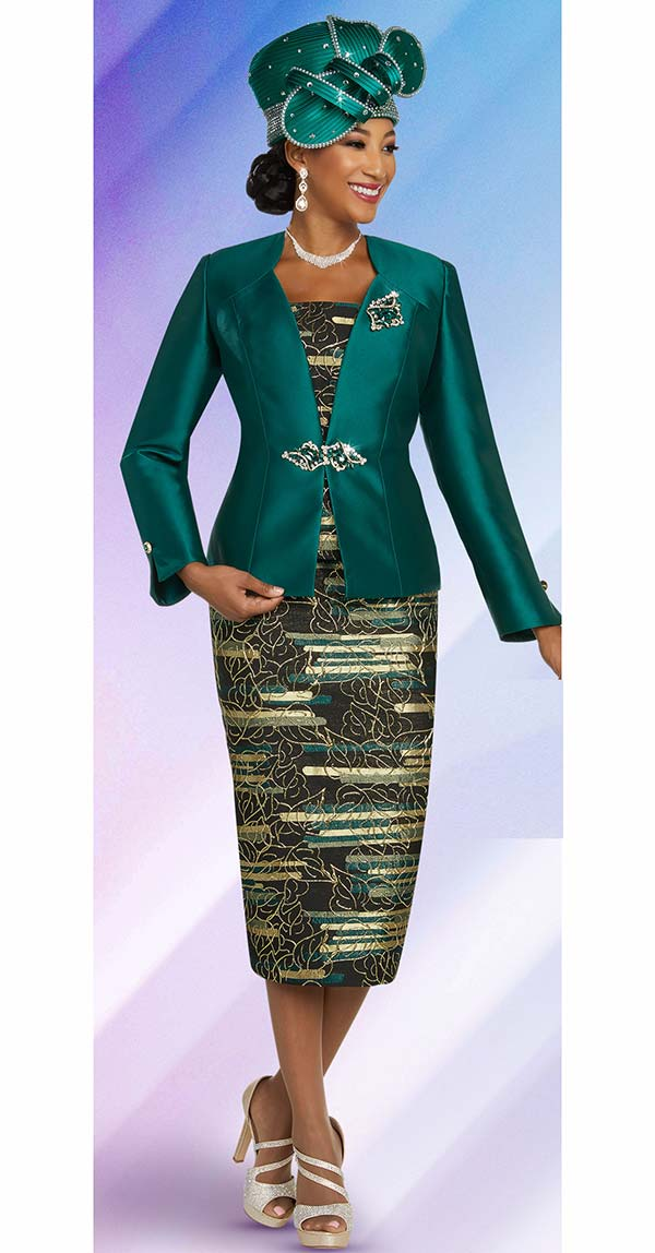 Ben Marc 48266-Emerald - Printed Skirt Church Suit With Solid Color Star Neckline Jacket