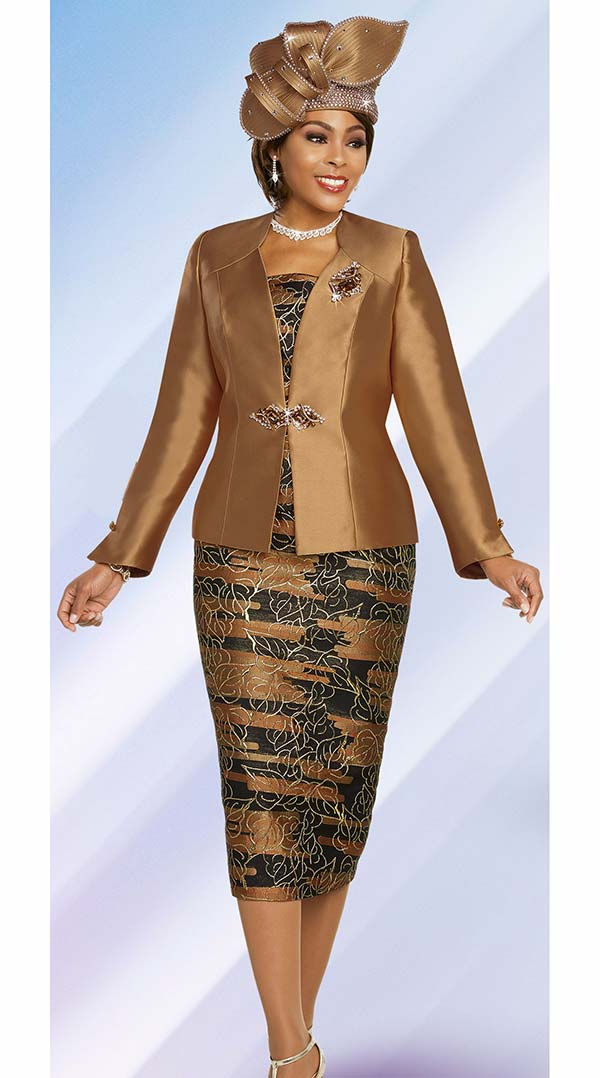 Ben Marc 48266-Mocha - Printed Skirt Church Suit With Solid Color Star Neckline Jacket
