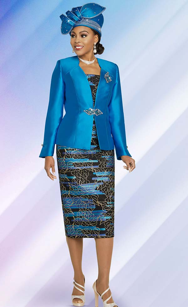 Ben Marc 48266-Turquoise - Printed Skirt Church Suit With Solid Color Star Neckline Jacket
