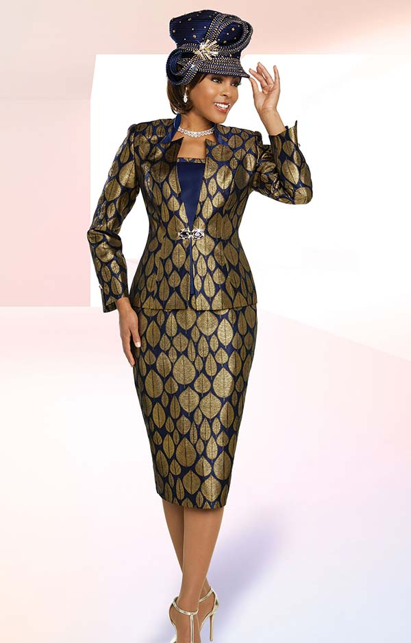 Ben Marc 48268 Brocade Fabric Skirt Suit In Leaf Print Design With Star Neckline Jacket