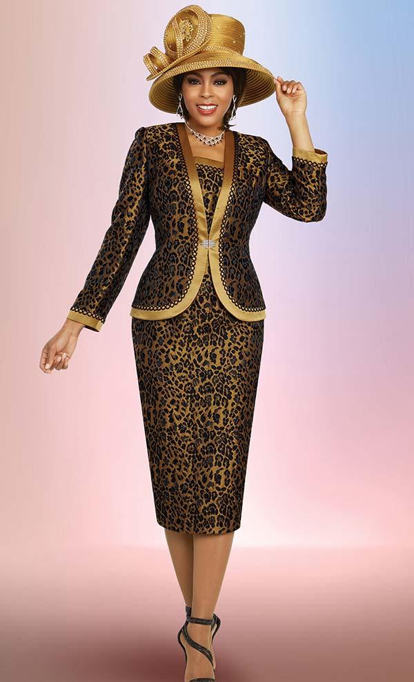 Ben Marc 48269 Brocade Fabric Skirt Suit In Leopard Print Design With Satin Trimmed Jacket