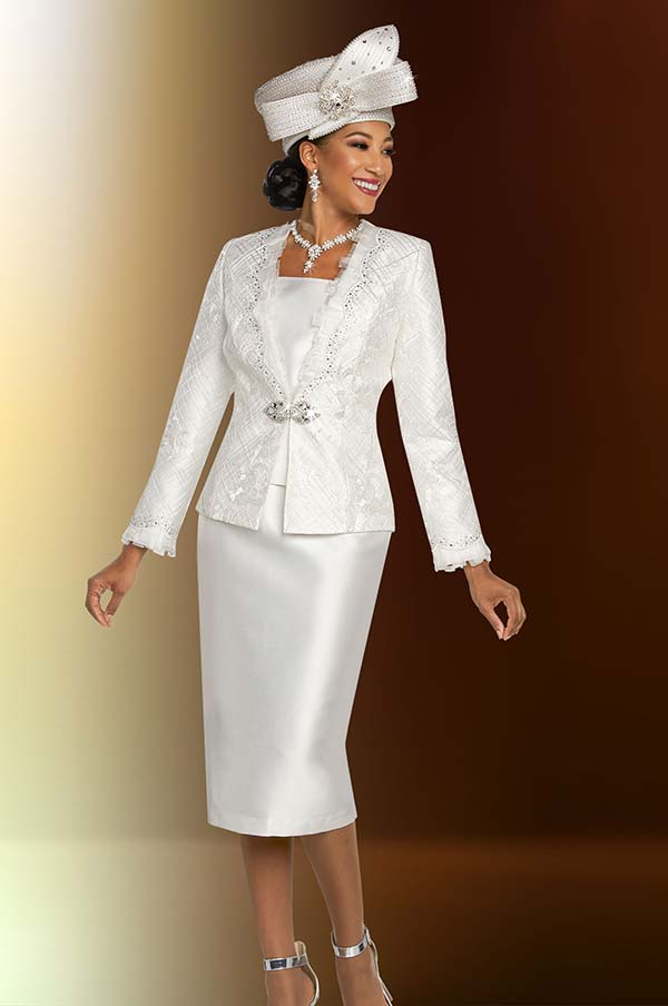 Ben Marc 48270 First Lady Skirt Suit With Lace Design Jacket In Satin Twill Fabric