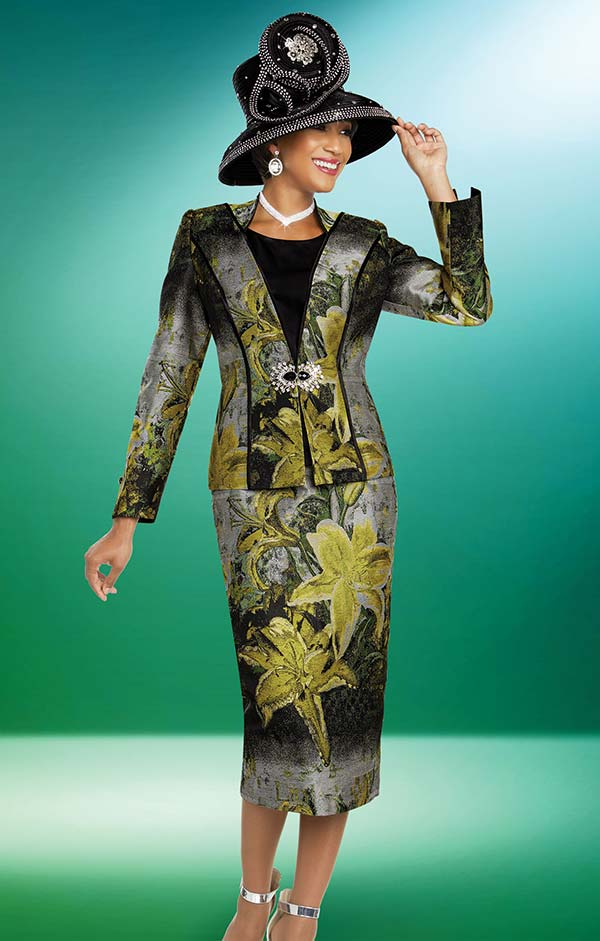 Ben Marc 48271 Womens Three Piece Skirt Suit With Floral Print