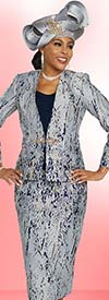 Ben Marc 48275 Three Piece Ladies Skirt Suit With Abstract Print Design