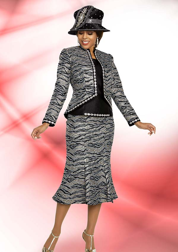 Ben Marc 48276 Flared Skirt Suit With Embellished Diamond Shape Trims