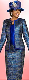 Ben Marc 48277 Three Piece Womens Print Skirt Suit With Trimmed Solid Camisole