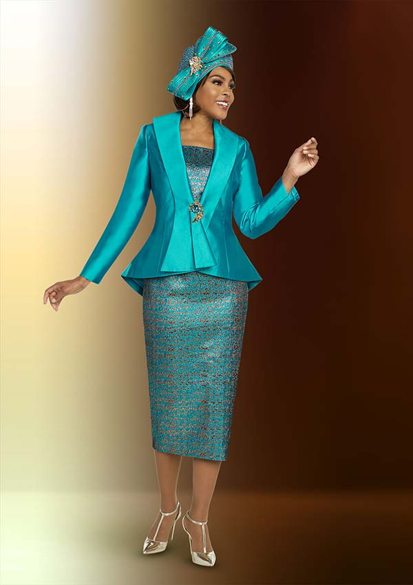 Ben Marc 48278 Printed Skirt Church Suit With Solid Cascading Lapel Peplum Jacket
