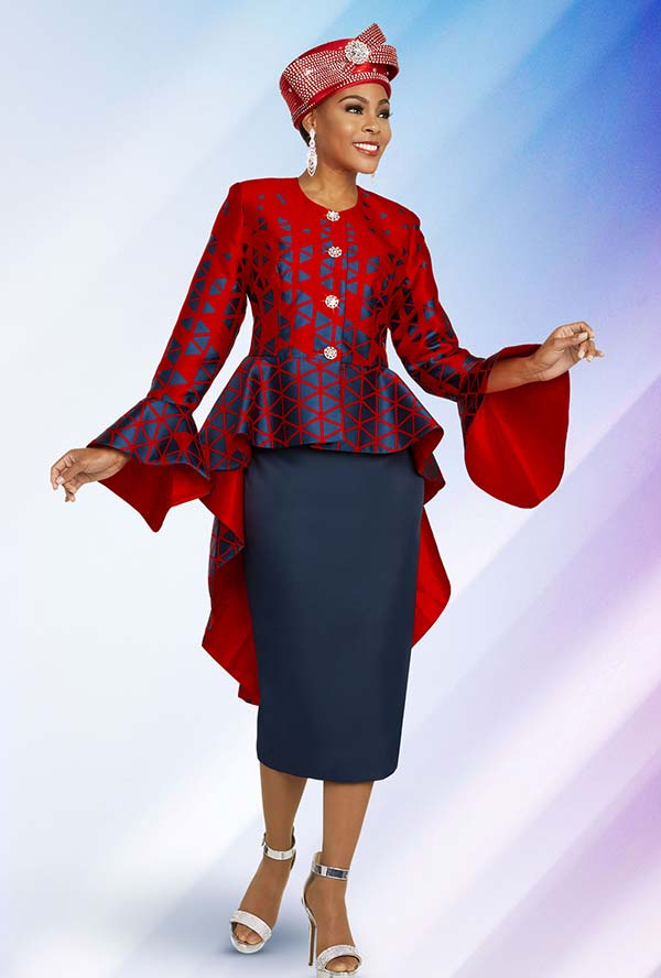 Ben Marc 48279 Womens Church Suit With Triangle Printed Hi-Lo Peplum Jacket And Solid Skirt