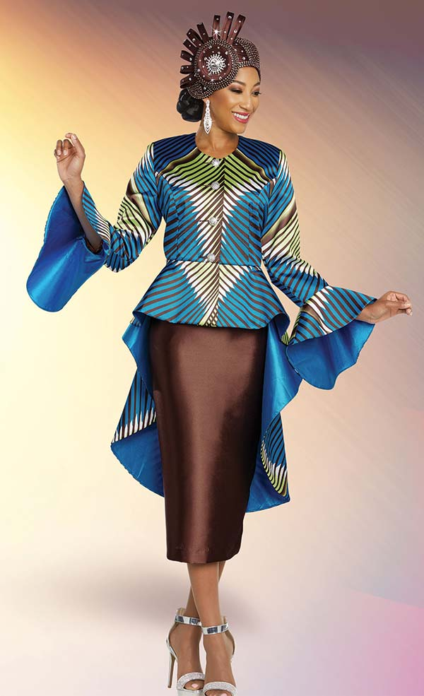 Ben Marc 48280 Skirt Suit With Printed Hi-Lo Peplum Jacket