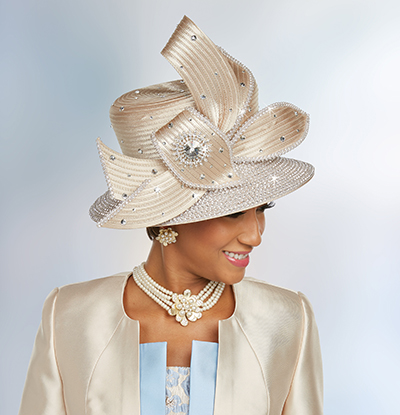 Ben Marc 48231H Womens Embellished Church Hat With Bow