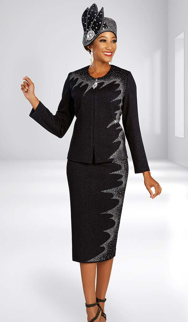 Ben Marc 48301 Two Piece Womens Knit Skirt Suit With Embellished Windswept Effect Design