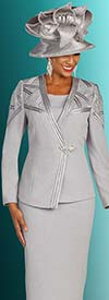 Ben Marc 48302 Two Piece Womens Knit Skirt Suit With Intersecting Satin Detailed Asymmetric Style Jacket