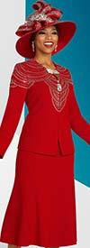 Ben Marc 48307 Flared Skirt Suit With Embellished Keyhole Neckline Jacket In Elegant Knit Fabric