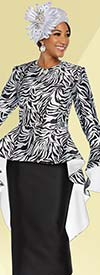 Ben Marc 48227 Silky Twill Fabric Skirt Suit With Wide Bell Cuff Long Peplum Jacket In Animal Print
