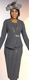 Ben Marc 48255 Womens Knit Church Suit With Skirt And Asymmetric Jacket