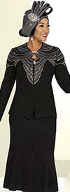 Ben Marc 48201 Womens Embellished Church Suit With Flared Skirt In Knit Fabric