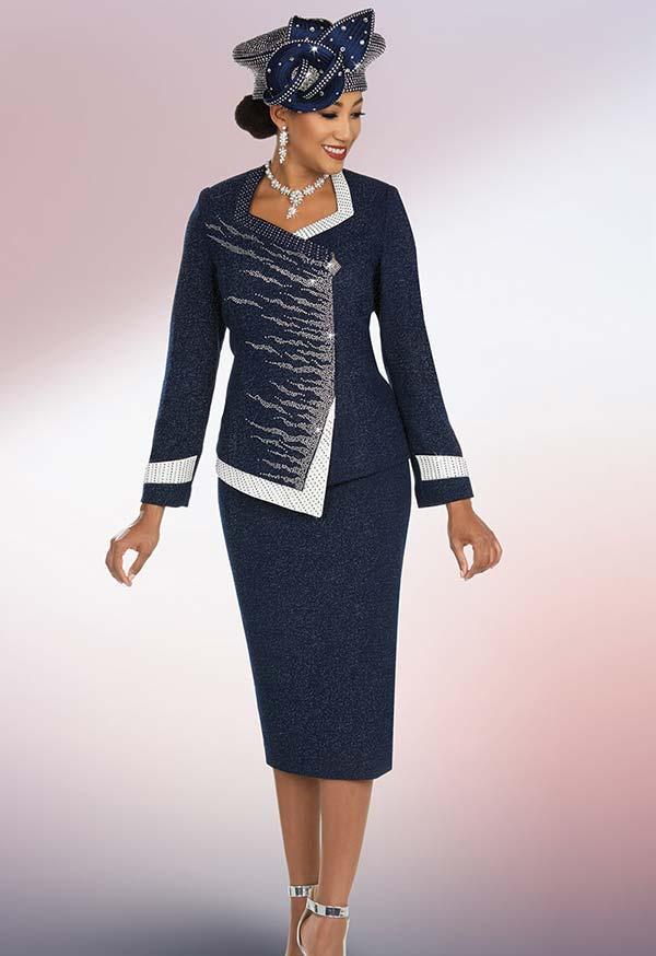 Ben Marc 48204 Skirt & Asymmetric Wrap Jacket Suit With Flame Pattern Design