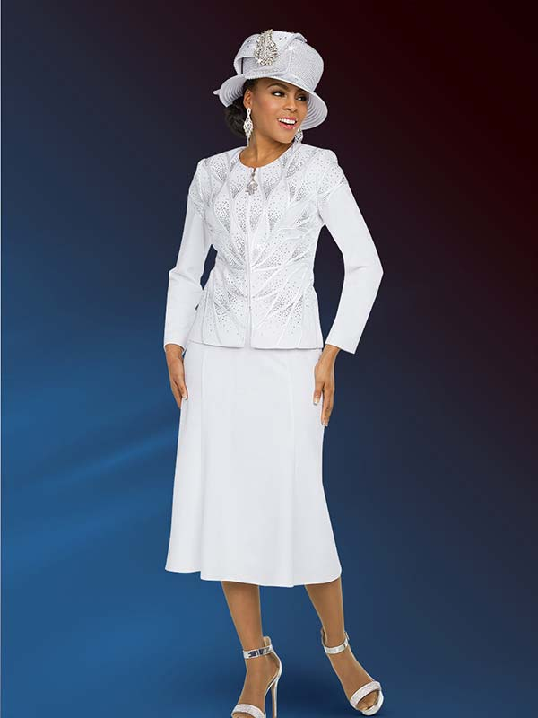 Ben Marc 48206 Embellished Flared Skirt Suit In Knit Fabric