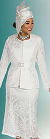 Ben Marc 48207 Womens Church Suit With Flared Skirt In Organza Fabric