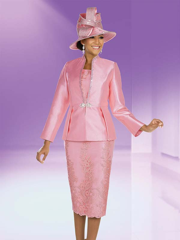 Ben Marc 48208 Silky Twill & Lace Skirt Suit With Embellished Swan Neck Jacket