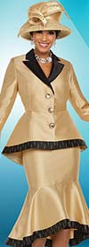 Ben Marc 48210 Womens Church Suit With Bell Cuffs & Flounce Skirt