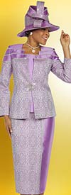 Ben Marc 48212 Solid & Pattern Design Ladies Skirt Suit
