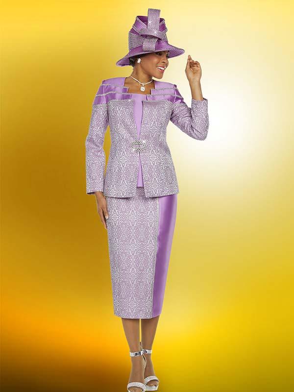Ben Marc 48212 Solid & Pattern Design Ladies Skirt Suit