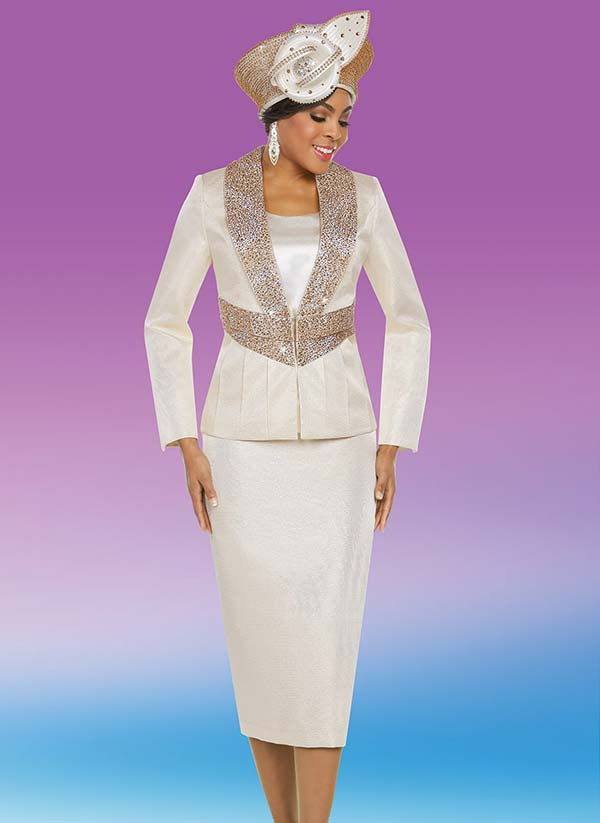 Ben Marc 48213 Skirt Suit With Embellished Shawl Lapel