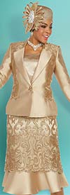 Ben Marc 48215 Lace Adorned Silky Twill Flared Skirt Suit