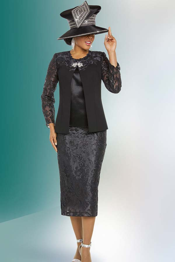 Ben Marc 48216 Womens Church Suit With Silky Lace Design