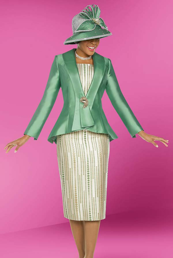 Ben Marc 48217 Peplum Jacket Suit With Printed Skirt & Chamisole Design